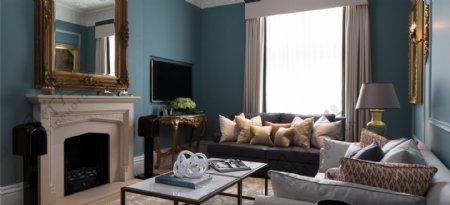 复古风蓝色背景墙客厅壁炉效果图