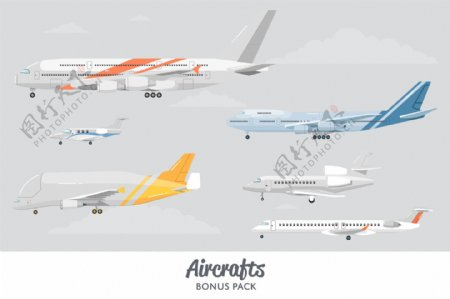 各种型号的飞机旅行矢量素材