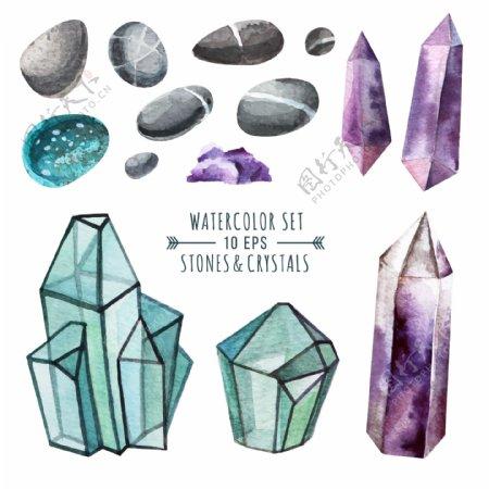 时尚水彩钻石插画