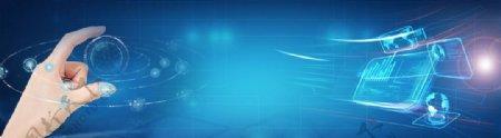 企业蓝色科技背景素材