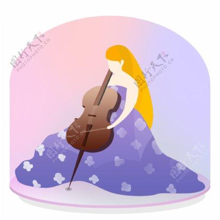 弹大提琴的少女装饰元素