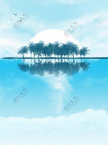 全原创手绘海边椰树林蓝天白云海报背景