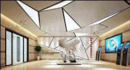 银行前台接待区3d渲染模型