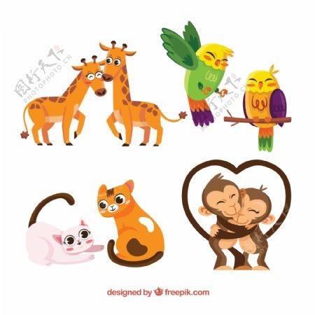 4对卡通动物情侣