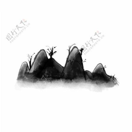 水墨山手绘中国风山水画抽象水墨山