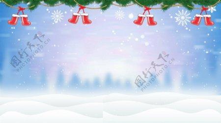 圣诞节松枝圣诞袜梦幻背景素材
