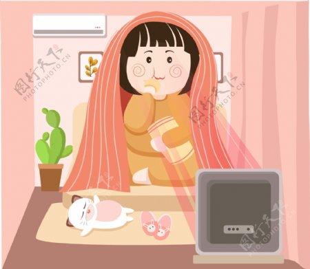肥宅快乐生活在家看电视猫猫卡通可爱可商用