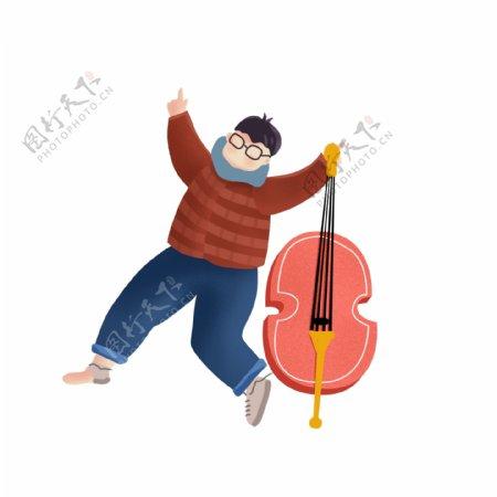 手绘拿着大提琴的男孩