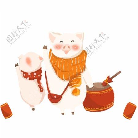 猪年敲着锣鼓的可爱小猪们
