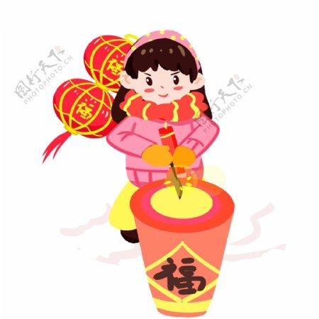 春节传统习俗放鞭炮手绘插画