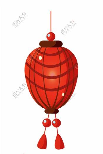 红色条纹灯笼插画
