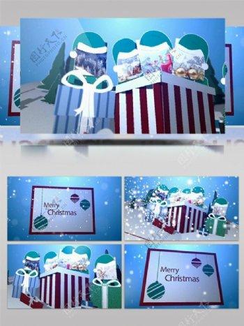 清新圣诞卡片动画节日庆祝ae模板