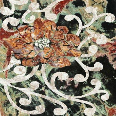 中式花图案瓷砖贴图