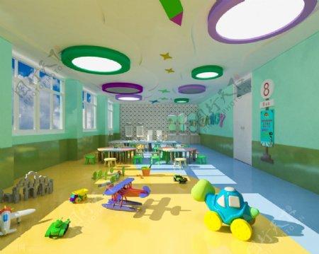 幼儿园教室max效果图模型