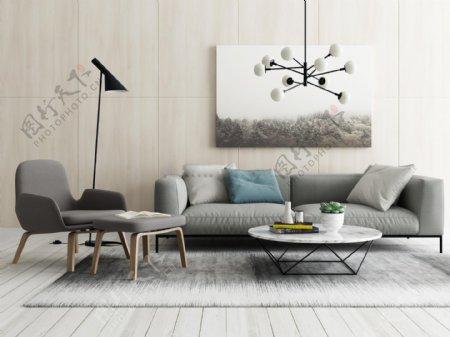 现代北欧组合沙发纯白3D模型