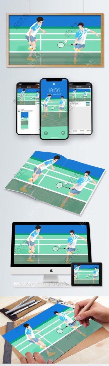 亚运会羽毛球插画