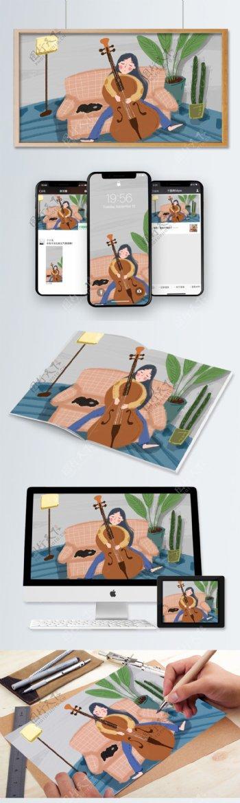 拉大提琴的女孩睡觉