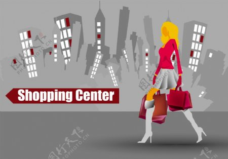 时尚人物购物城市背景