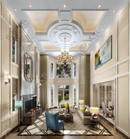欧式别墅客厅挑高3D模型