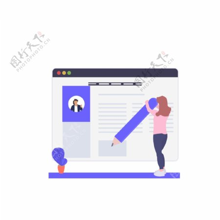 web网页端登录界面插画元素