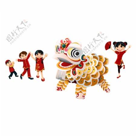 中国风新年看舞狮表演素材