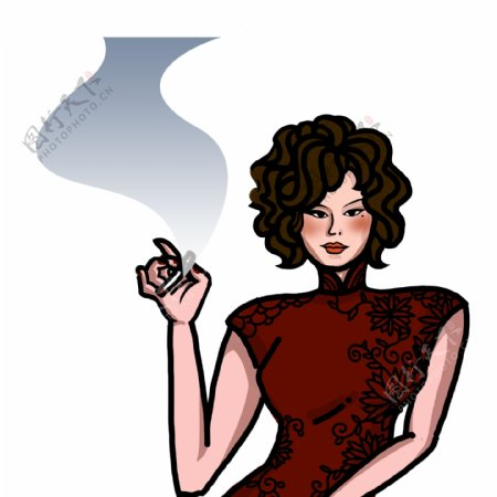 民国风手绘穿旗袍抽烟的风尘女子