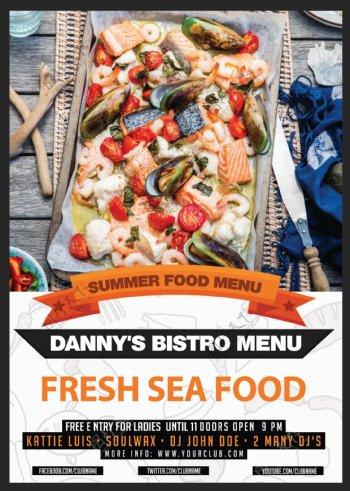 海鲜餐厅传单模板