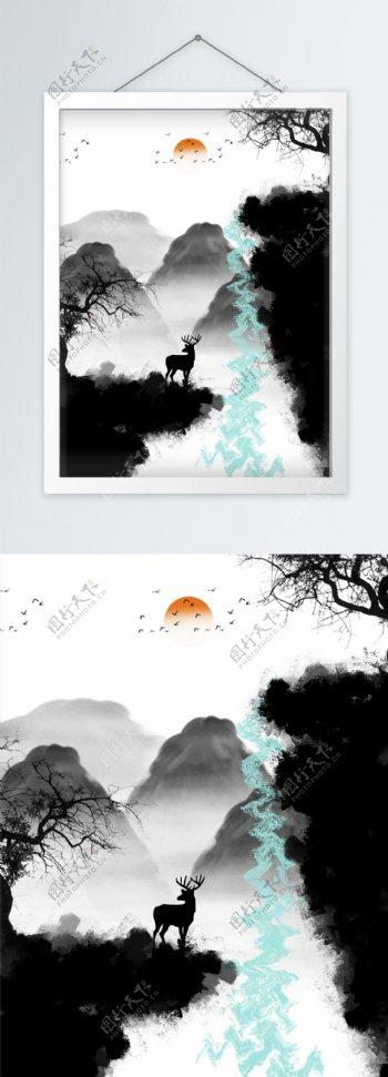 新中式抽象水墨悬崖麋鹿枯枝装饰画