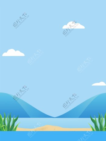 手绘毕业季学生背影蓝色背景素材