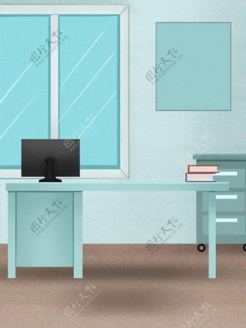 清新蓝色医疗医生办公室背景设计