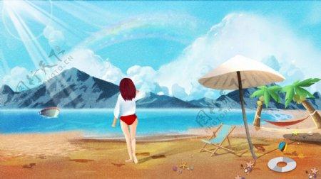 小清新治愈系节气夏天夏季立夏插画
