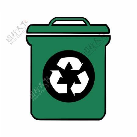 绿色环保标示图案垃圾桶