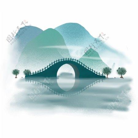 中国风青山绿水江水古桥石桥