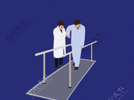 卡通医生病人康复训练治疗手绘图