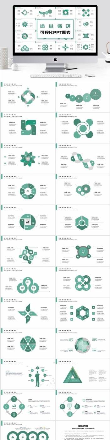简约递进循环可视化PPT图表