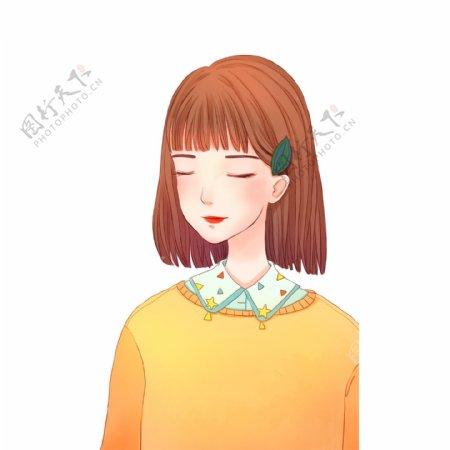 小清新可爱短发的女孩插画设计
