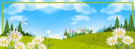 绿色草坪banner背景图