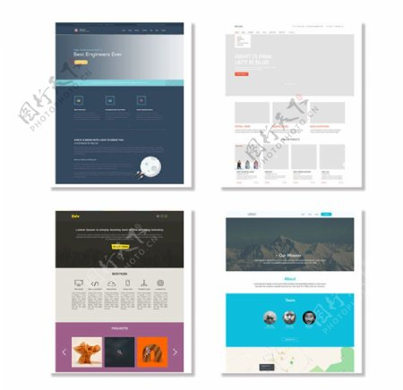 4套欧美扁平化网页模板