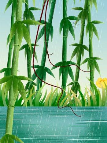 手绘端午节竹子背景素材