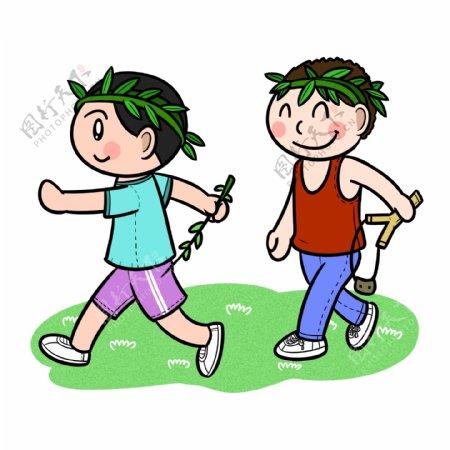 卡通儿童节回忆童年玩耍png透明底