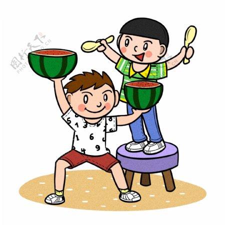 卡通儿童夏天玩耍吃西瓜png透明底