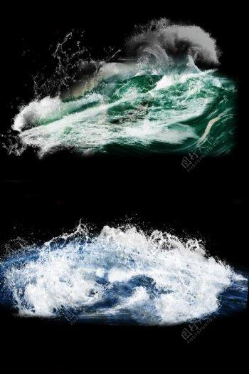 水浪白色水花蓝色海洋元素