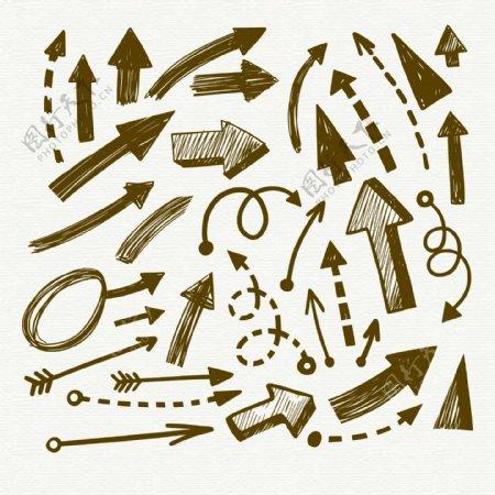 手绘箭头设计矢量图