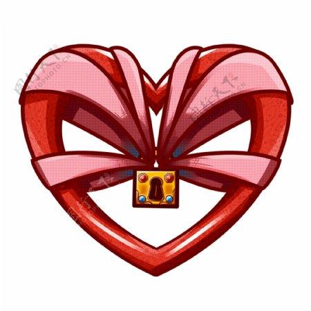 情人节红色爱心丝带锁头礼物gif