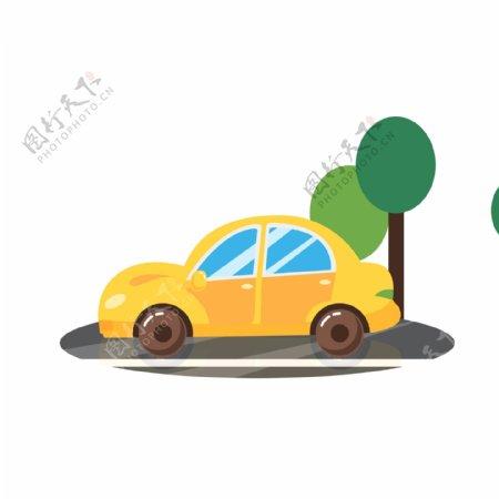 黄色小汽车行驶动态GIF