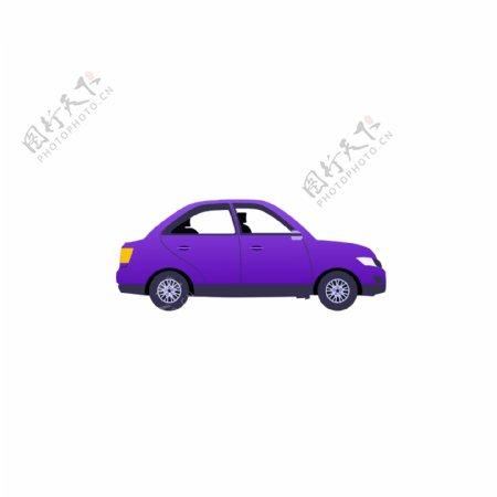 紫色卡通小汽车发动GIF