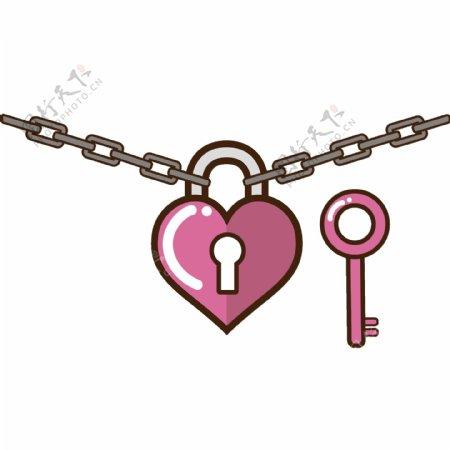 铁链上的同心锁矢量素材GIF