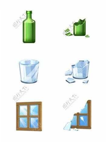 手绘玻璃制品破碎玻璃