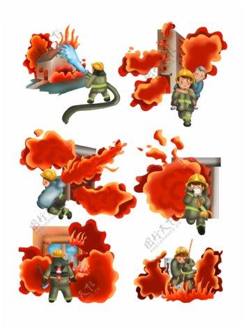 可商用救火消防员抢险场景套图