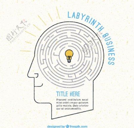 创意脑中的迷宫矢量素材